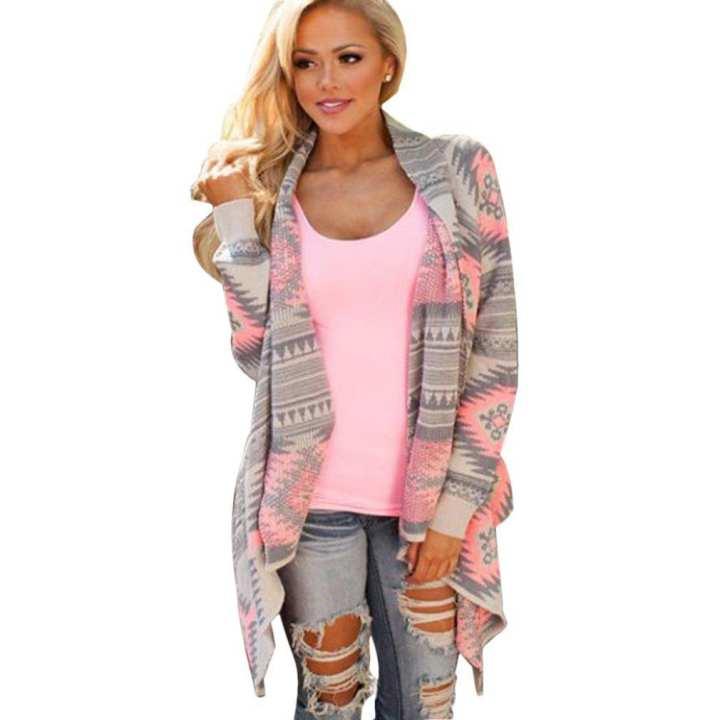 Irregular Printing Shirt Long-sleeved Women Cardigan Fashion Knitted Sweater
