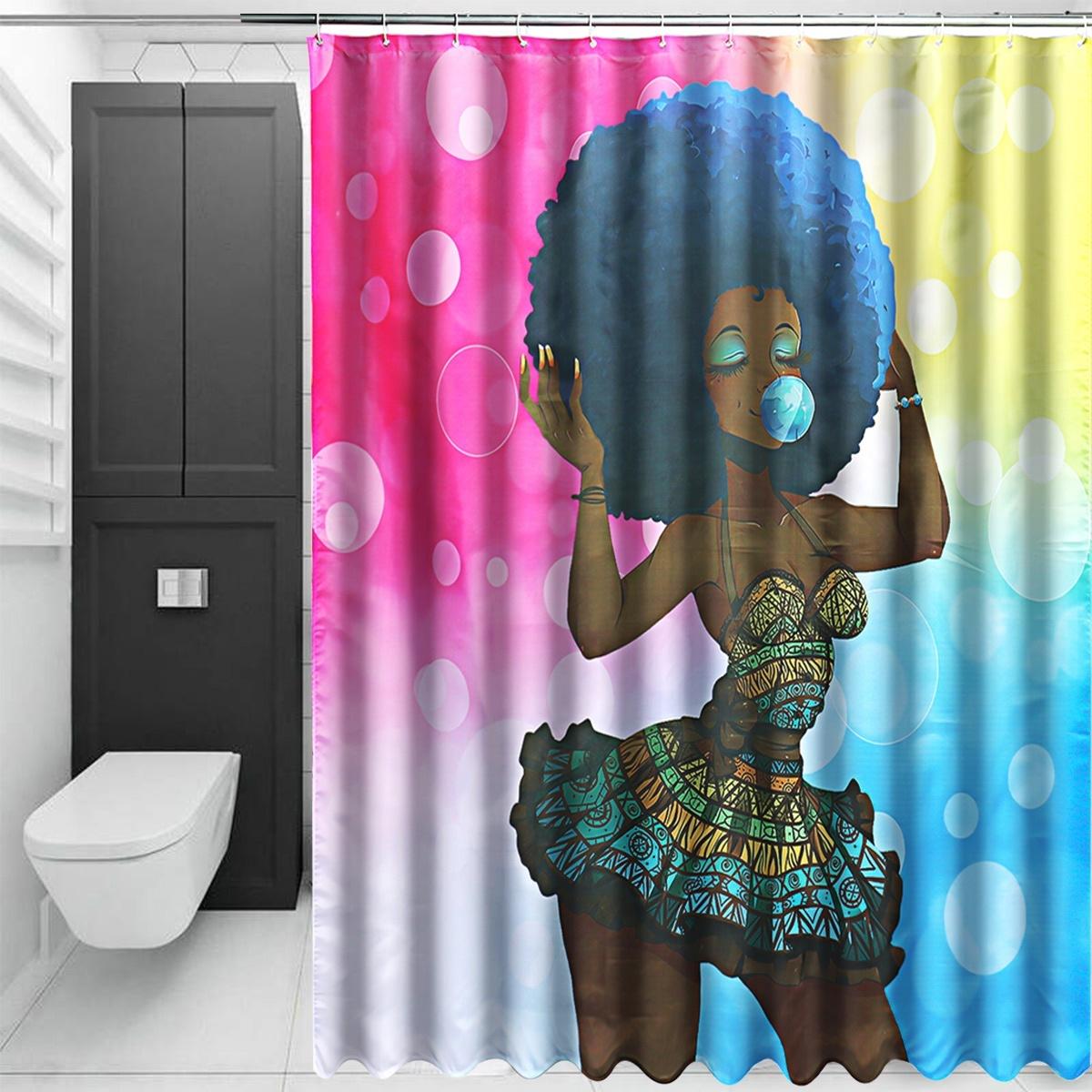 African Girl Bathroom Non-Slip Carpet Pedestal Rug+Lid Toilet Cover+Bath Mat