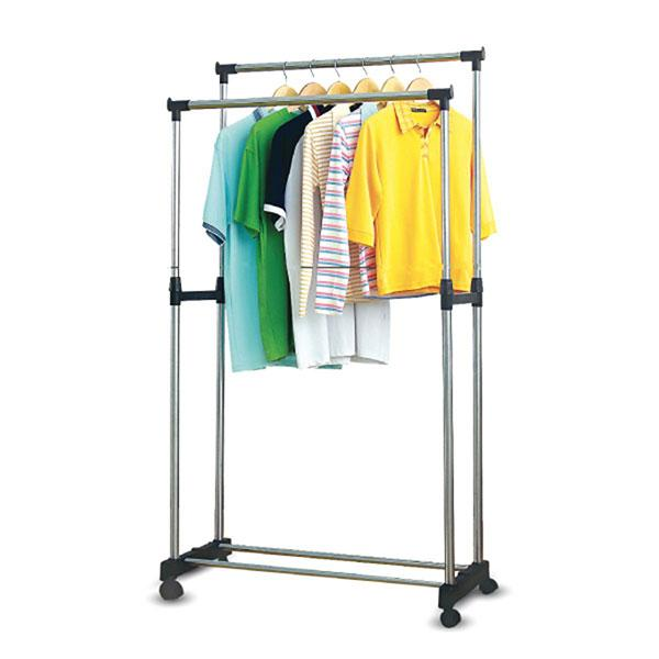 Double Pole Clothes Hanger Rack – Stainless Steel