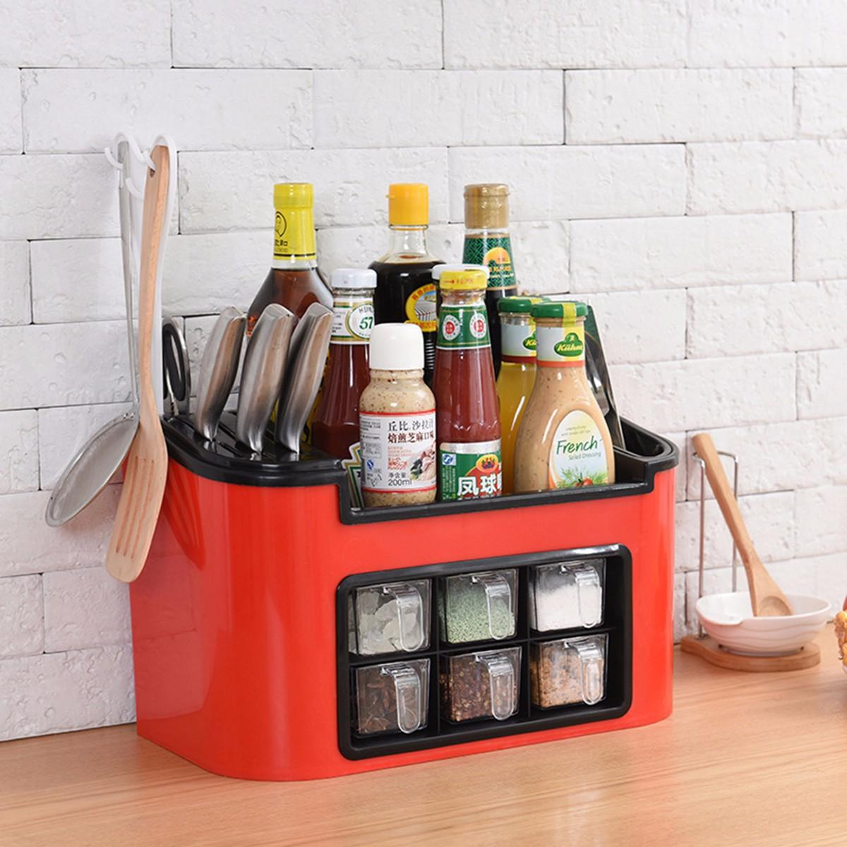 PP Kitchen Seasoning Cans Knife Chopstick Shelf Kitchen Spice Rack Condiment Bottles Pepper Shakers Box Storage