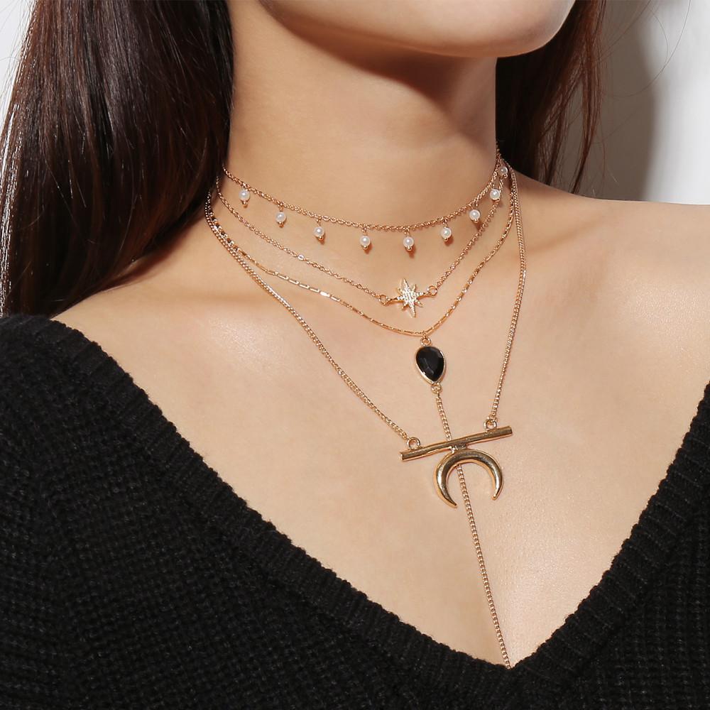 1aba2a296ed59b Women Multi Layer Moon Chic Pendant Chain Choker Bib Statement Necklace  Jewelry