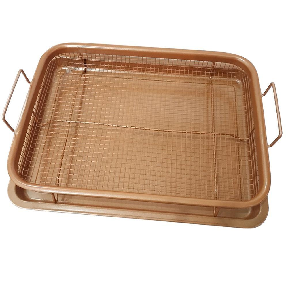 Leegoal Premium Copper Crisper Tray Air Fryer, Nonstick Crisper Basket And  Tray For Chicken, French Fries, Onion Rings More