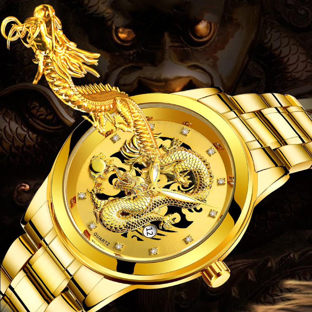 de5881b9bd5 FashionieStore Men s wristwatch Waterproof Mens Gold Dragon Sculpture  Quartz Watch Luxury Men Steel Wristwatch