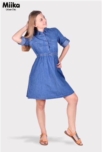 Miika Women Half Placket Collar Denim Dress