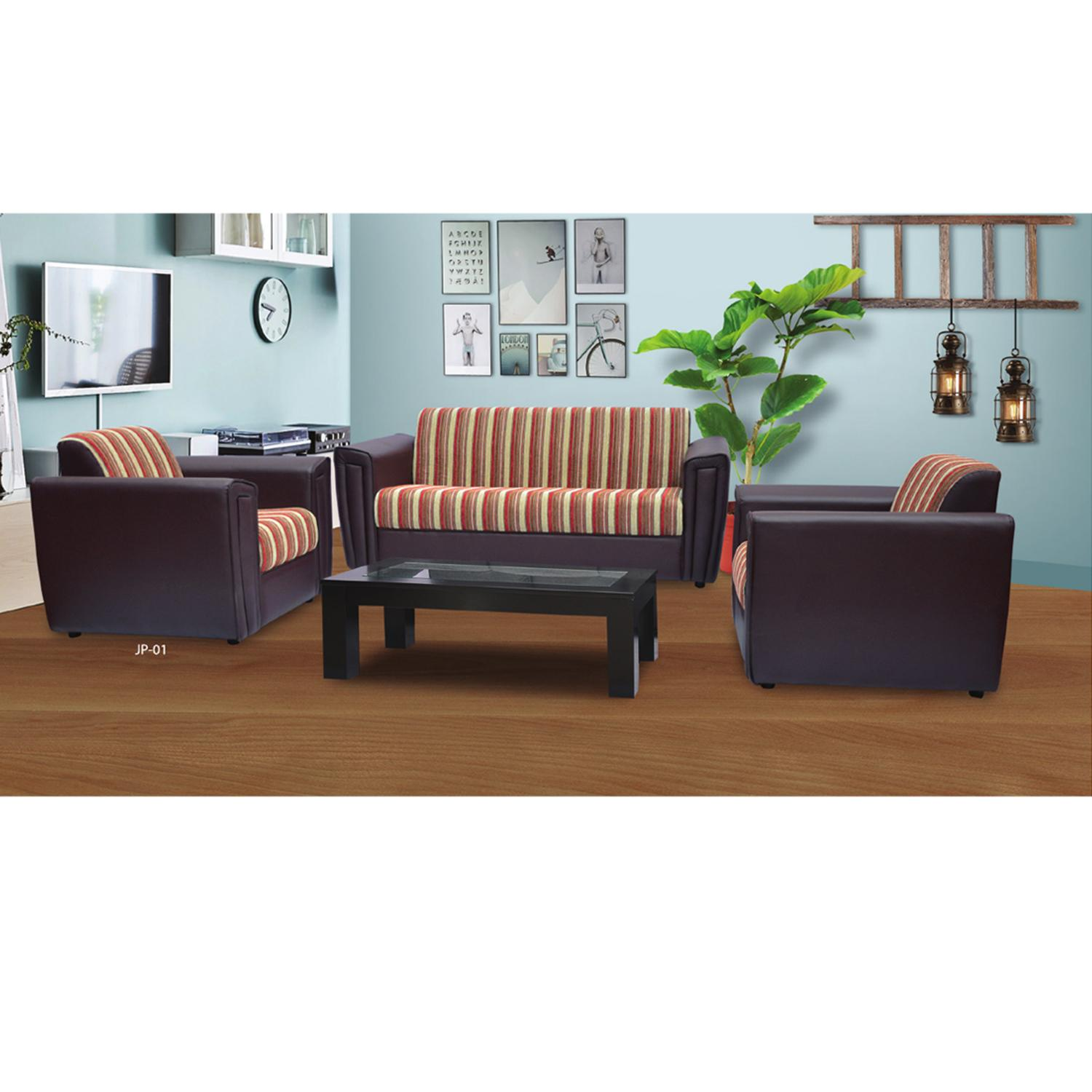 Jupiter Fabric Sofa Set With Rexine - Black