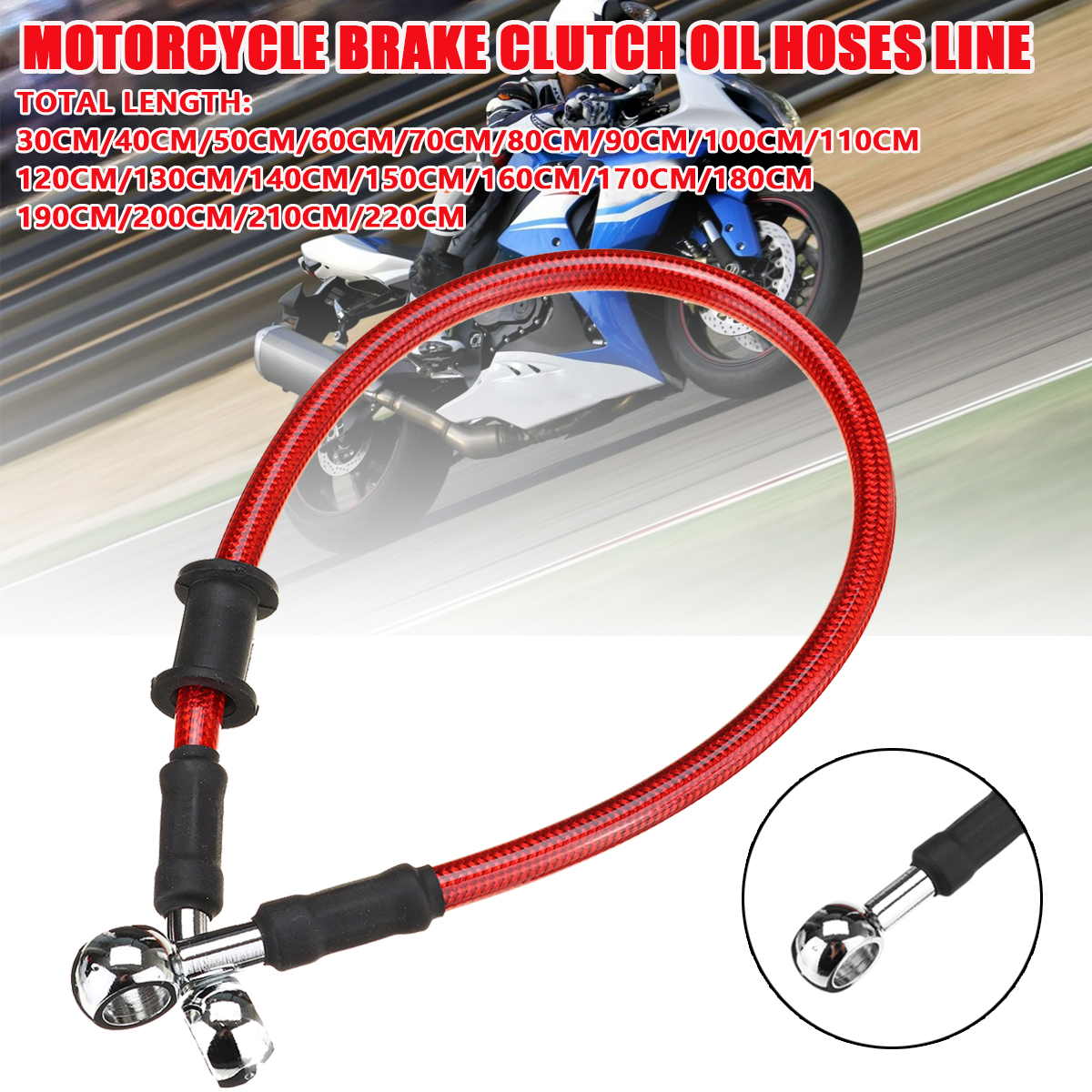 Motorcycle Motorbike Braided Brake Clutch Oil Hose Line Pipe Cable 30cm-220cm