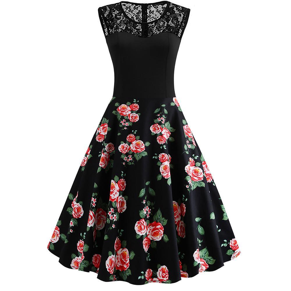 Happydeal Women Lace Stitching Retro Black Peony Print Sleeveless Dress