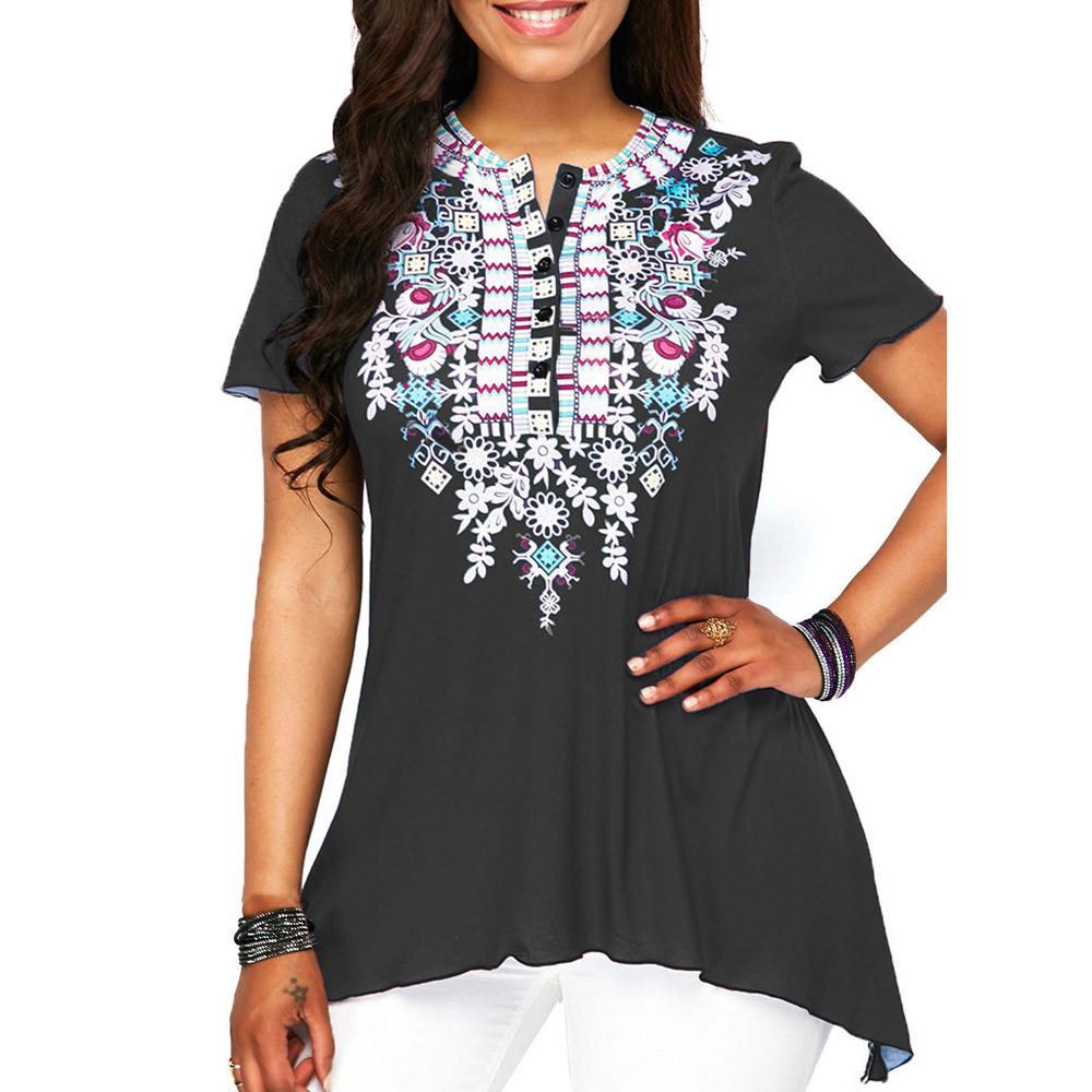 d53fed5555e7f9 Women O-Neck Printing Button Plus Size Short Sleeve Blouse Top Tunic Shirt