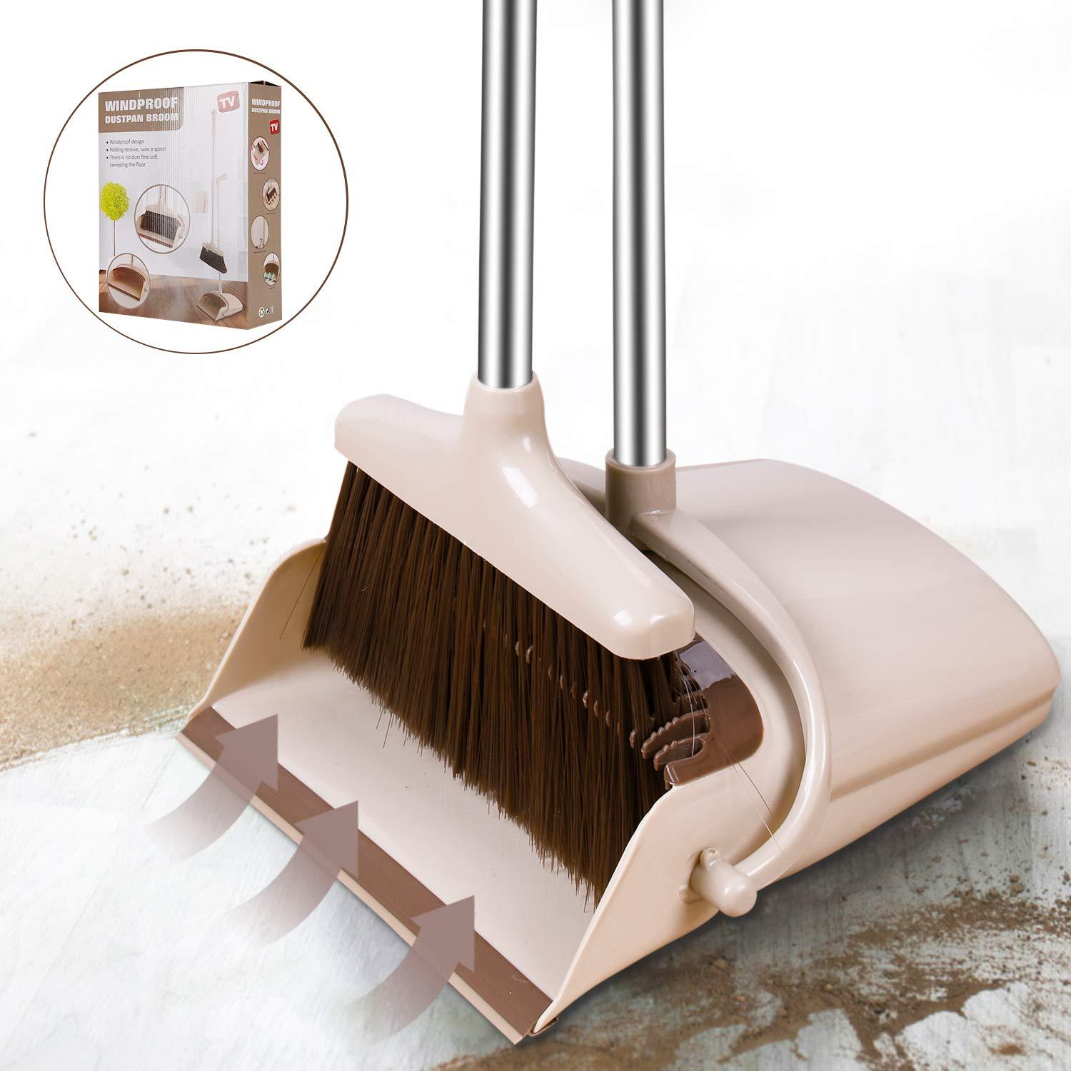 Windproof Broom and Dustpan Set Upright with Long Handle