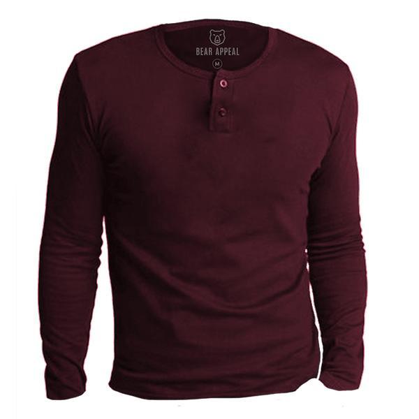 Bear Appeal Maroon Long Sleeve Henley Neck T-Shirt