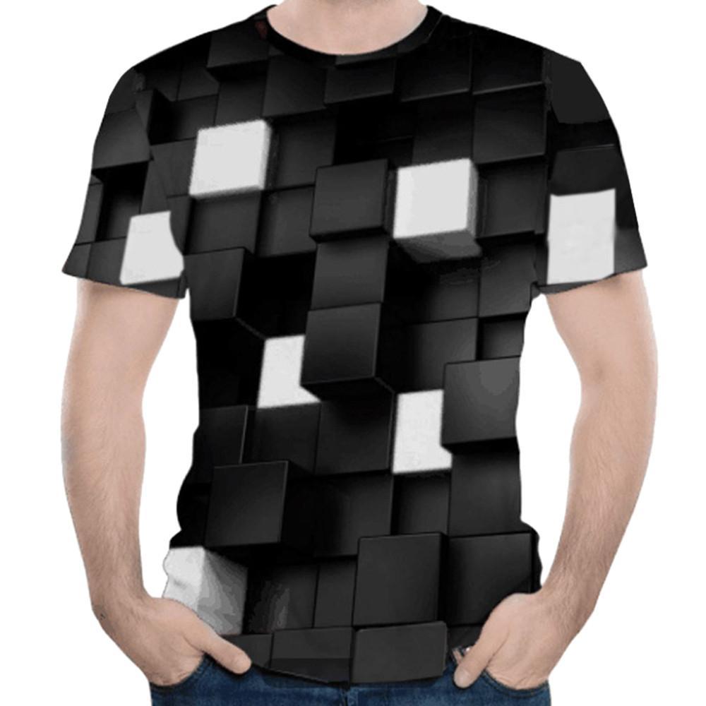 Happydeal Mens 3D Formula Three-dimension Print Casual Slim Short-sleeved Shirt Top Blouse
