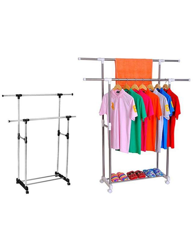 Double Pole Clothes Rack -Silver