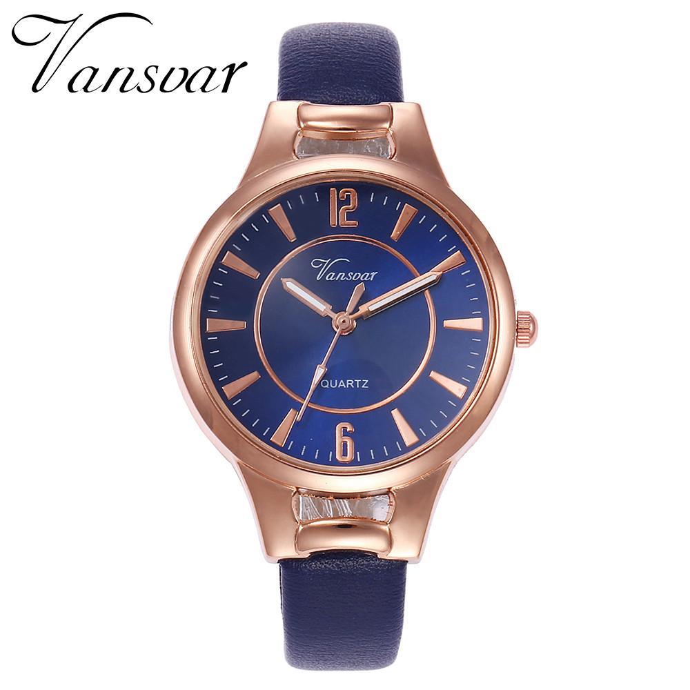FashionieStore Ladies wristwatch vansvar Women's Casual Quartz Leather Band Newv Strap Watch Analog Wrist Watch