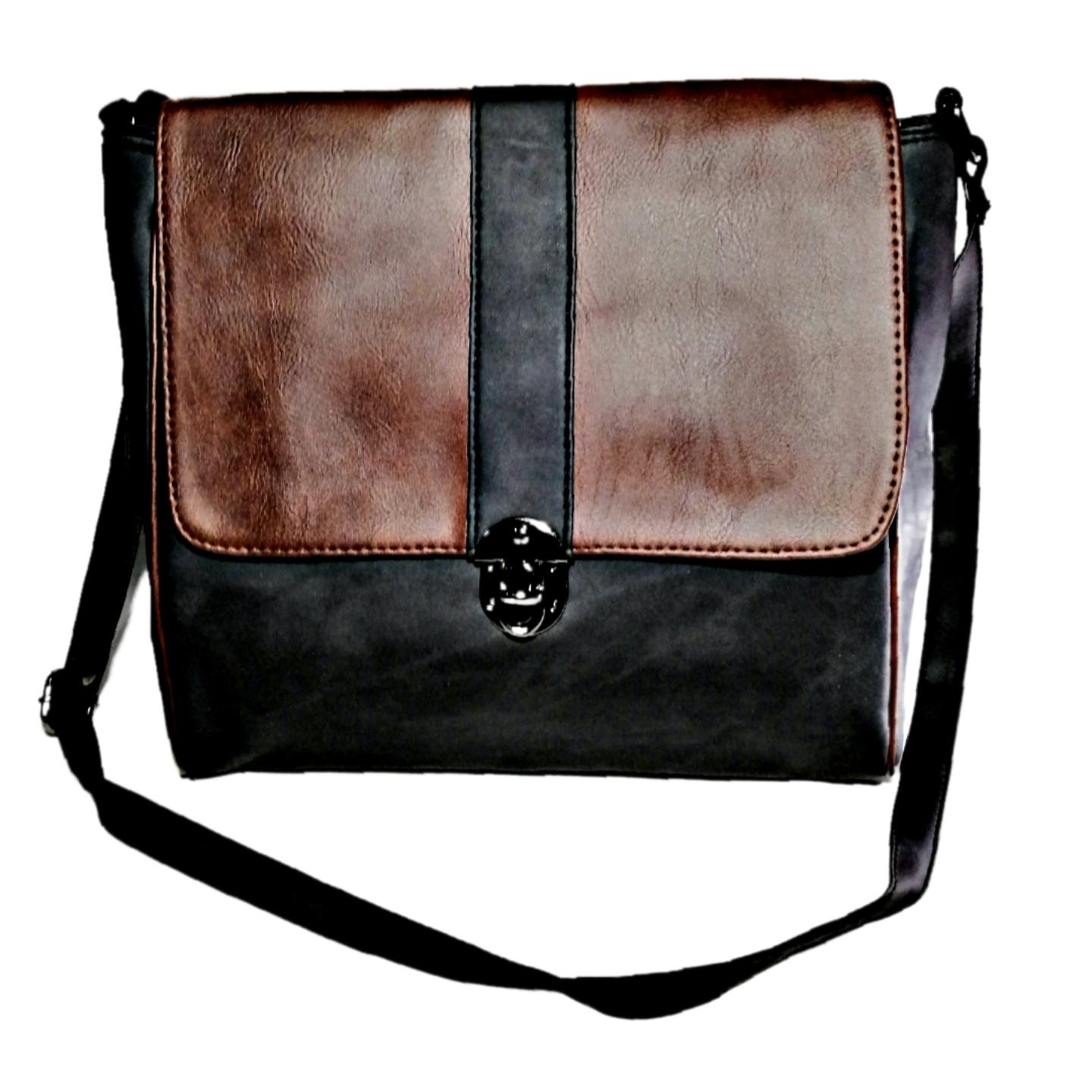 b8cf0a9ca4e4 Stylish Ladies black and brown colour shoulder bag with middle lock  Imported from Bangkok