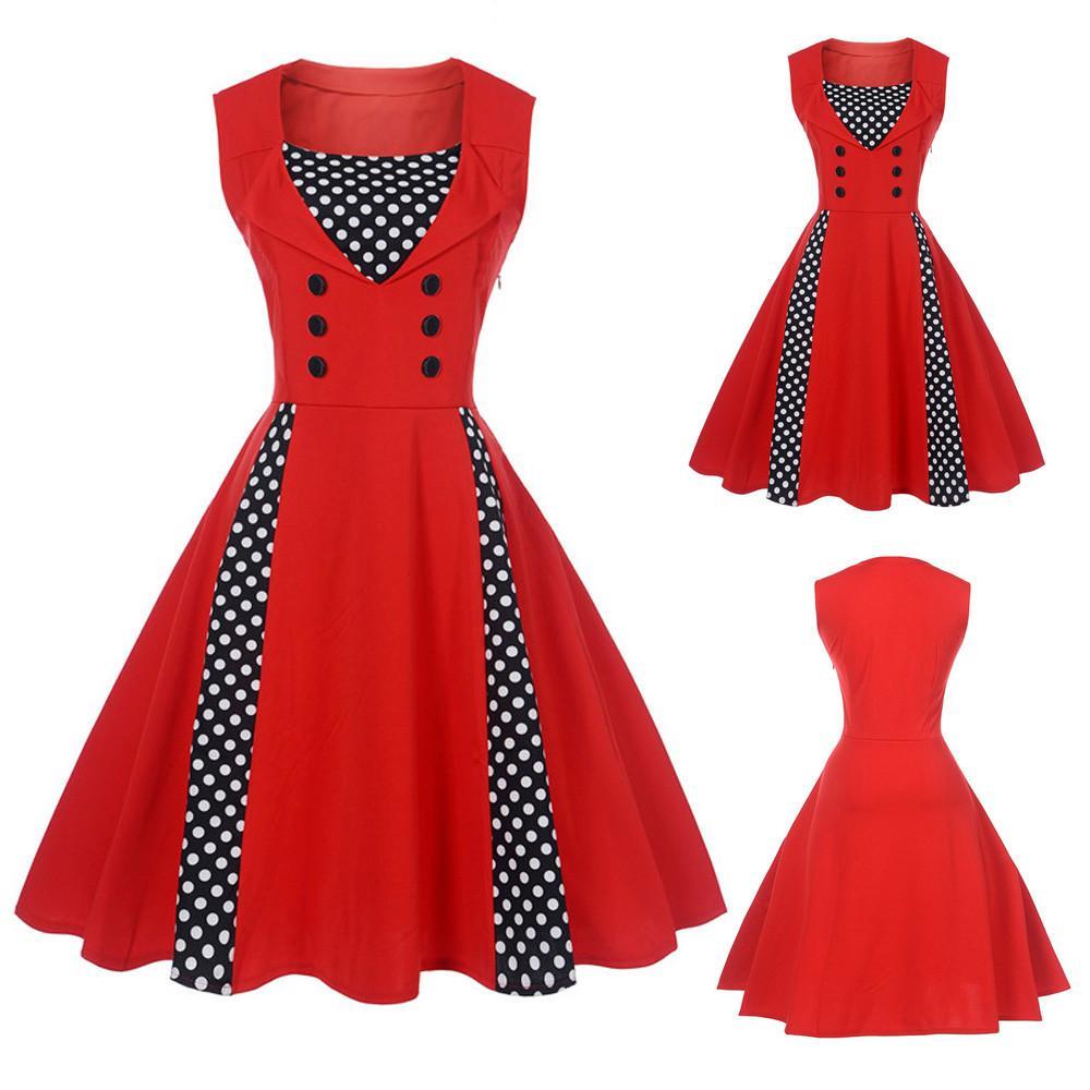 Women Vintage Sleeveless Dress Swing Dot Rockabilly Party Slim Dresses Dress