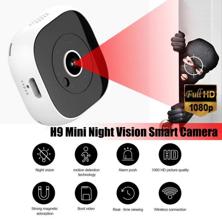 H9 automatic non-light night vision 1080P magnetic suction portable wearable movement small monitor DV camera --- Black / White