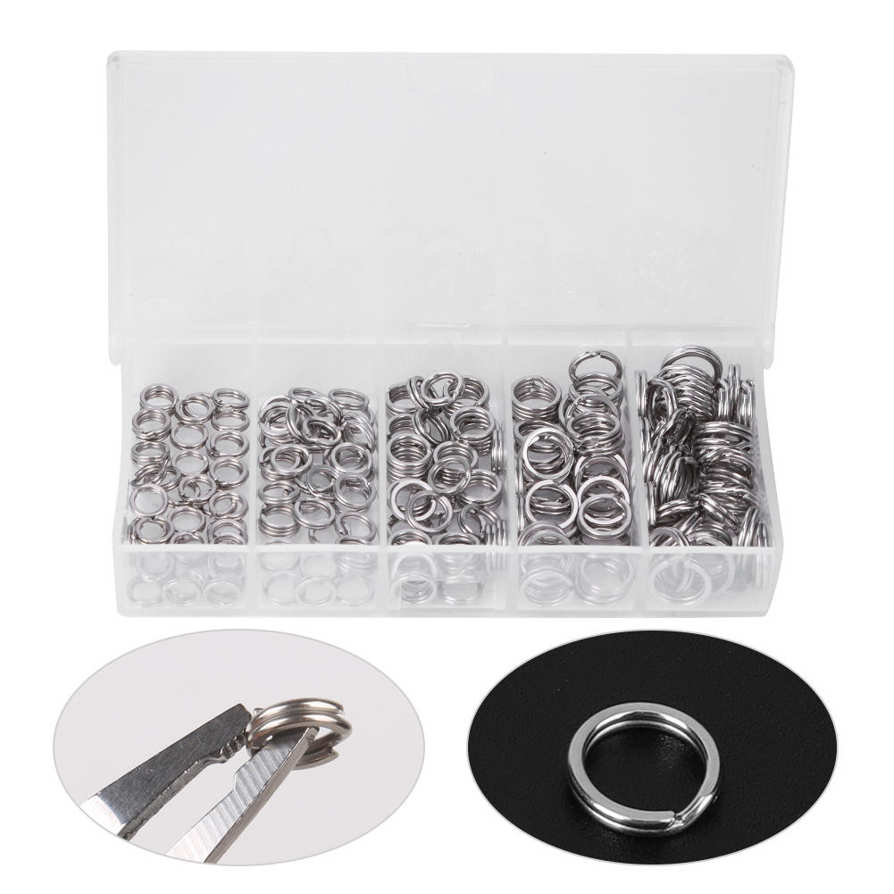 Details about  /Fishing Stainless Steel Double Split Ring 200pcs Lure Baits Plastic Case Hot