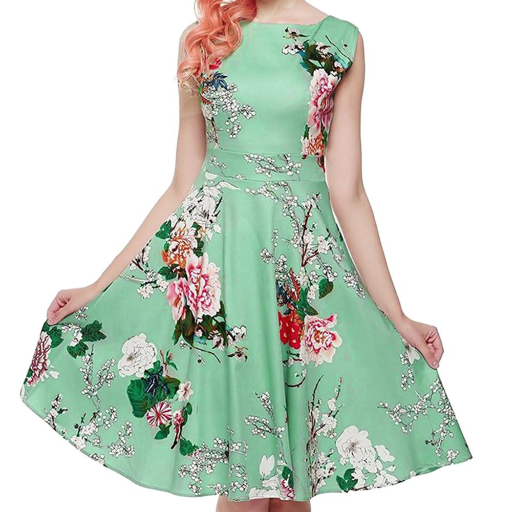 Happydeal Women Vintage Printing Sleeveless Casual Evening Party Prom Swing Dress