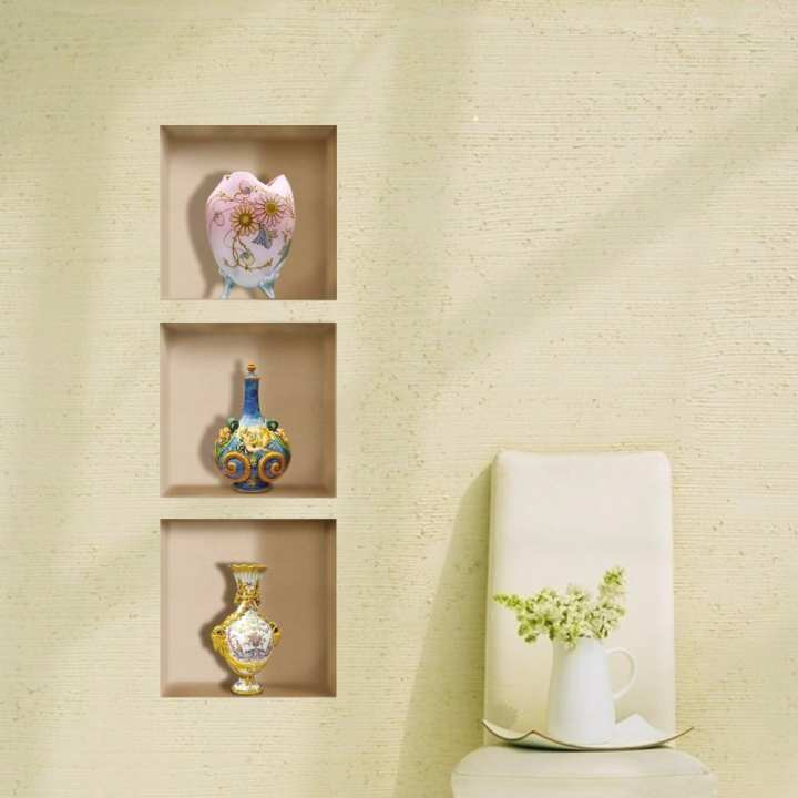 Vintage Vase 3D Riding Lattice Wall Decals PAG Removable Wall Art Grid Stickers Home Decor Gift