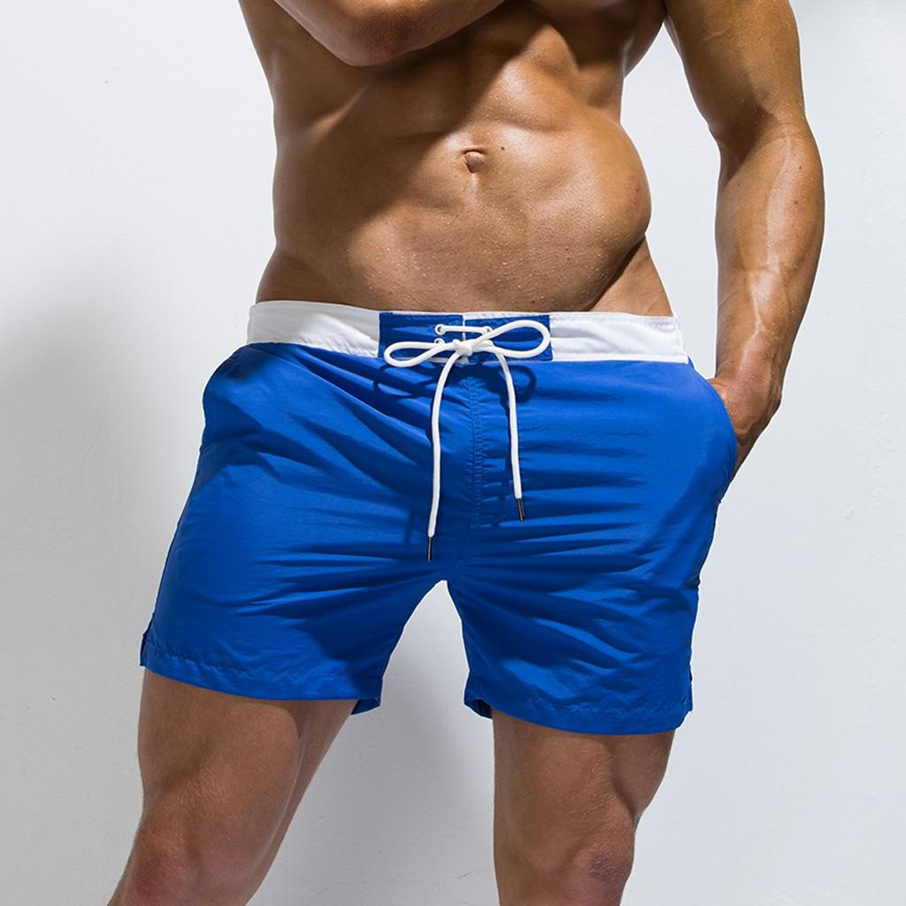 2019 Men's New Summer Solid Sport Swimming Quick Drying Casual Loose Beach Pants