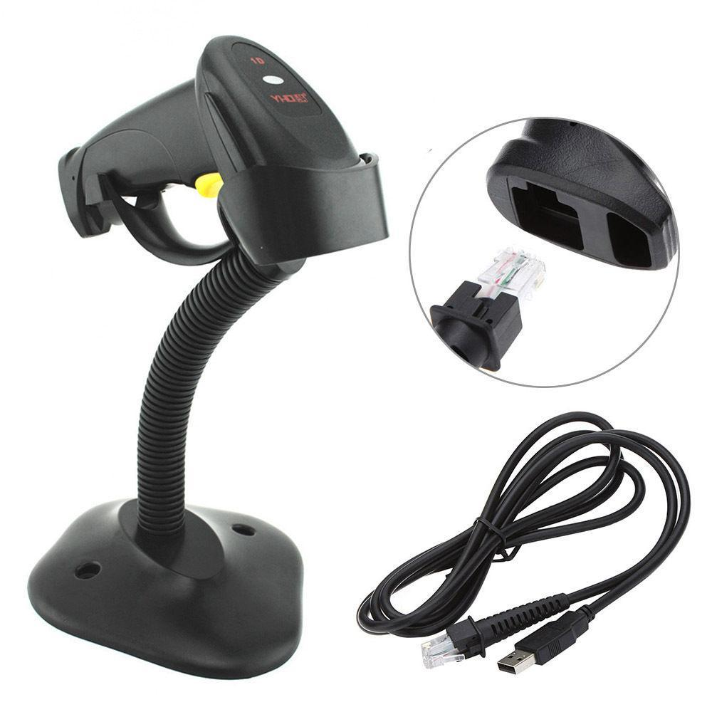 Black Handheld USB Laser Barcode Scanner Bar Code Reade With Stand For POS  Tools