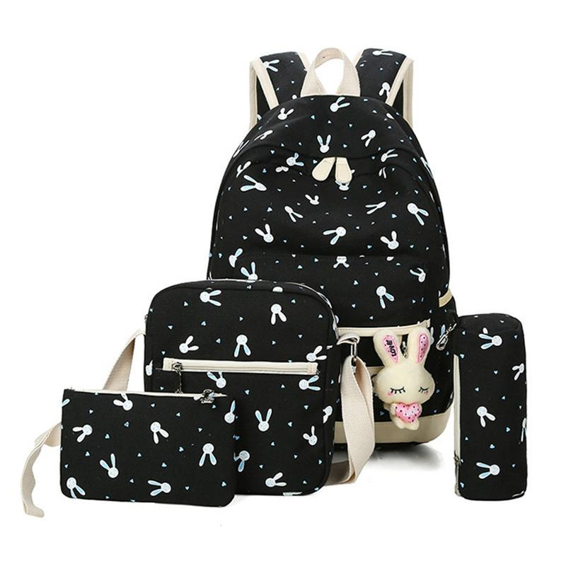 3pcs Deer Print Canvas Backpack Set Big Capacity Pink Travel Bag Women School Rucksack Bag With Crossbody Bag+pencil Case Bags Backpacks
