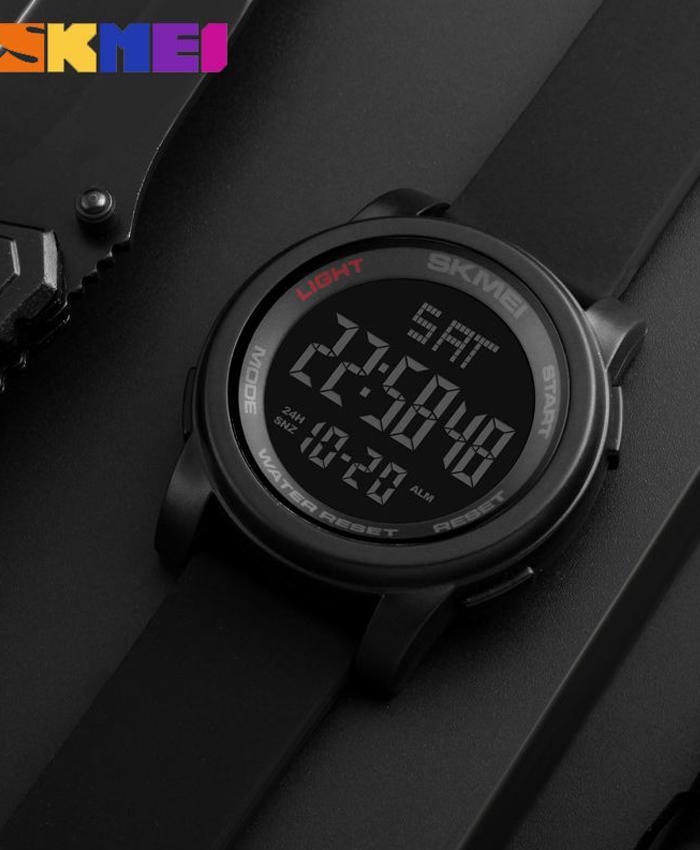 SKMEI 1257 Digital Waterproof Sport Watches - Black