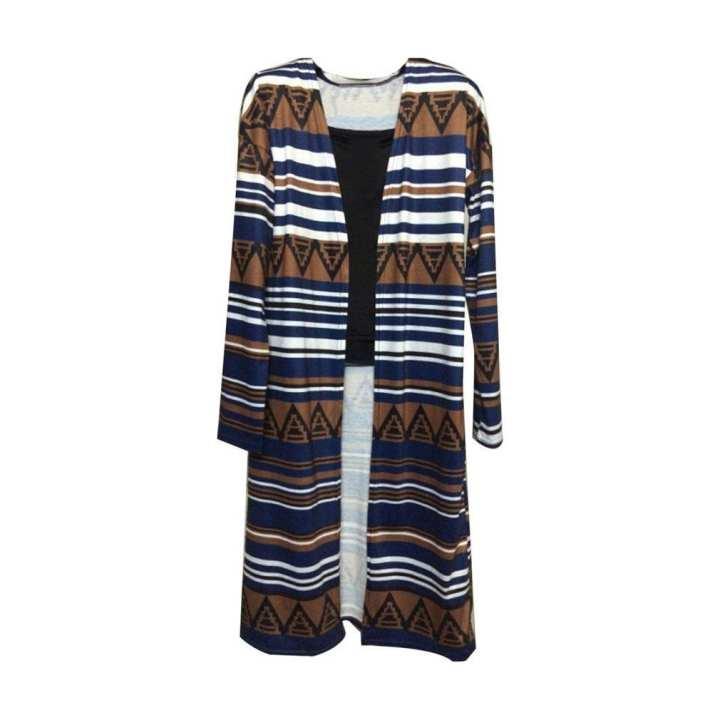 Fashion Printed Long Coat Cardigan Female Slimming Knitted Cardigan Sweater