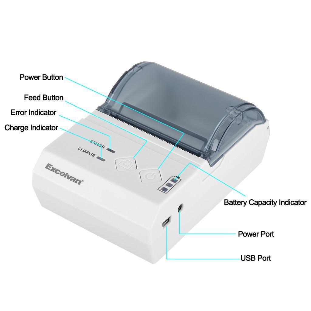 Portable Wireless 58mm Bluetooth Thermal Dot Receipt Printer UK