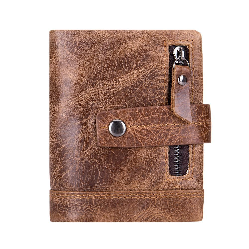 aa70aac05ddf BULLCAPTAIN Men Business Bifold Clutch Leather Card Holder Short Wallet