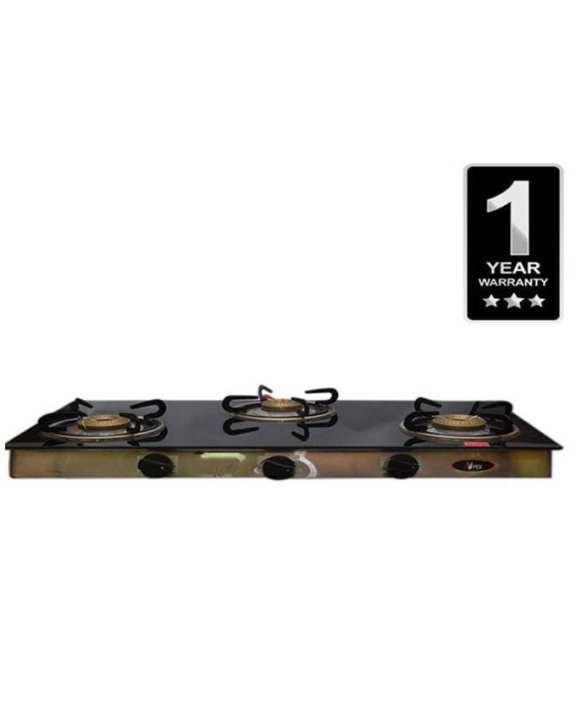 Glass Top Gas Cooker -  Silver