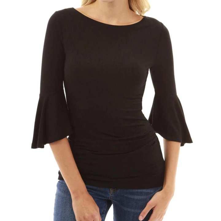 Women O Neck  Elbow Bell Sleeve Sweatshirt Pullover Ladies Basic Tops Blouse