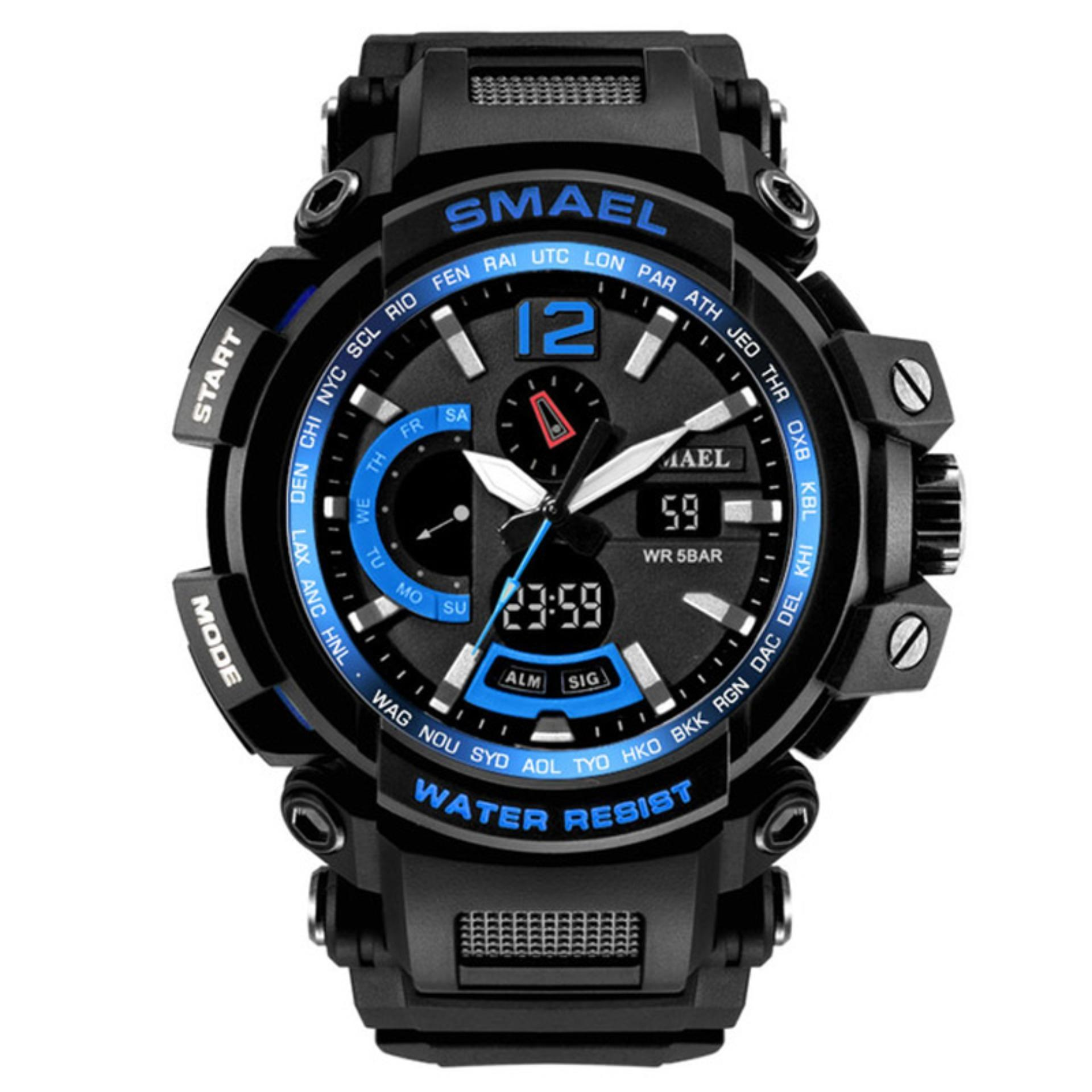 SMAEL Men Top Brand Electronic LED Digital Wrist Watches For Male Sport Watch Men Military Clock Relogio Masculino Blue