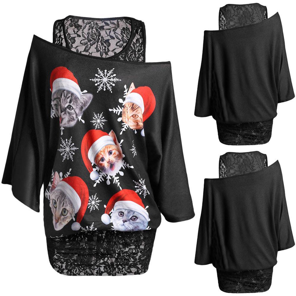 b30d4fadd2d90 Fashion Women Plus Size Lace Twinset Christmas Cat snowflake Print T-shirt  Tops