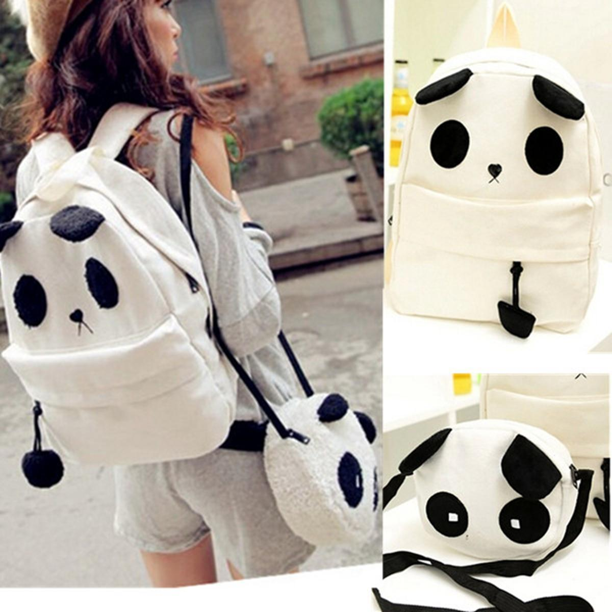 2364ec8c6b Women Girl Cute Panda Mother   Baby Shoulder Backpack Bookbag Handbag Bag  Set
