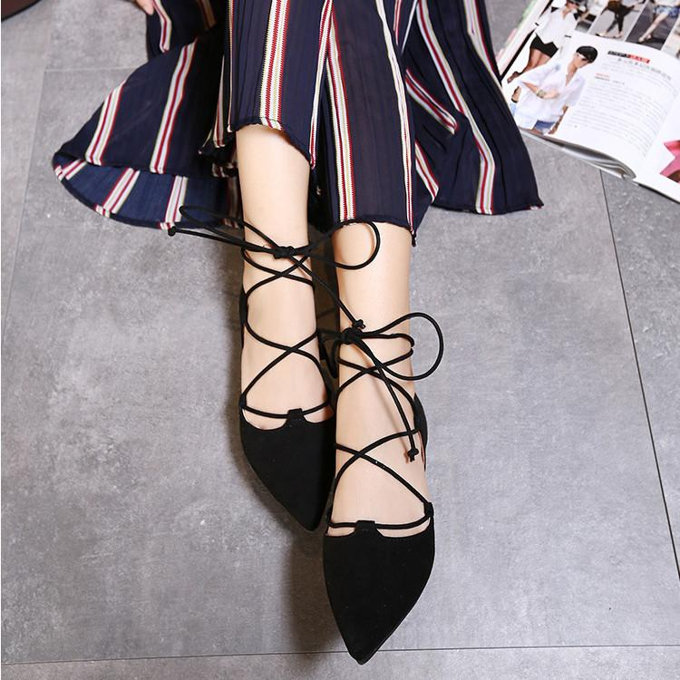 7ff815d1a Product details of LACE UP Flats Suede Pointy Toe Shoes Women's Fashion  Ballet Casual Straps BLACK