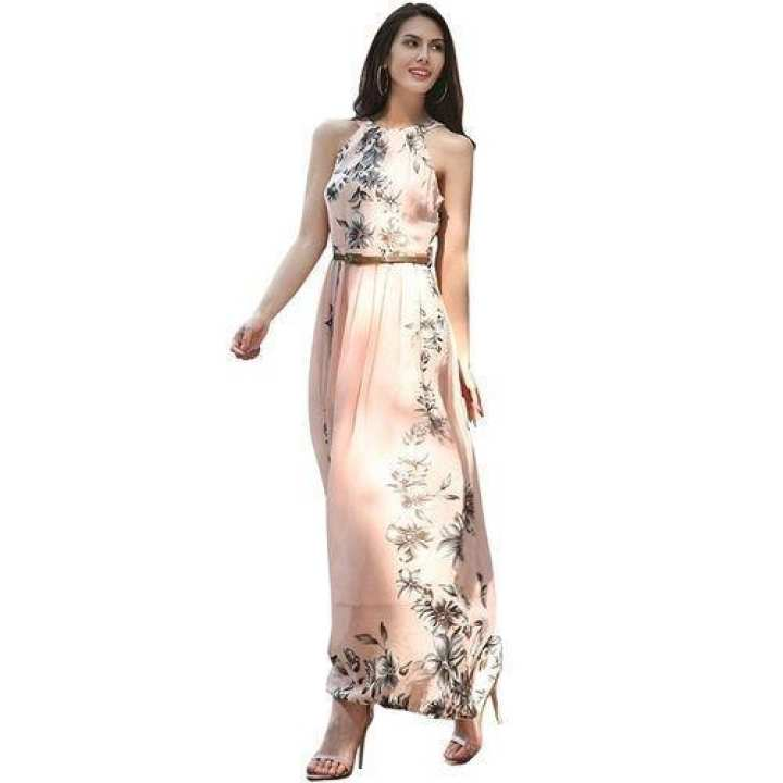 Floral Printed Sexy Sleeveless Chiffon Long Dress For Beach