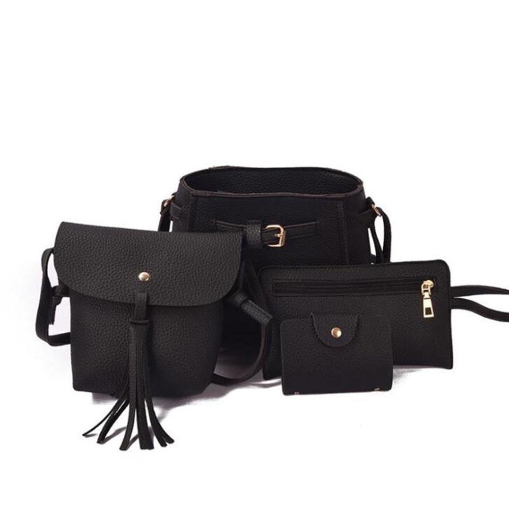 moonderam 4Pcs 1Set Elegant Women PU Leather Bags Handbag Lady Shoulder Bag  Tote Purse fcf81af5075bb