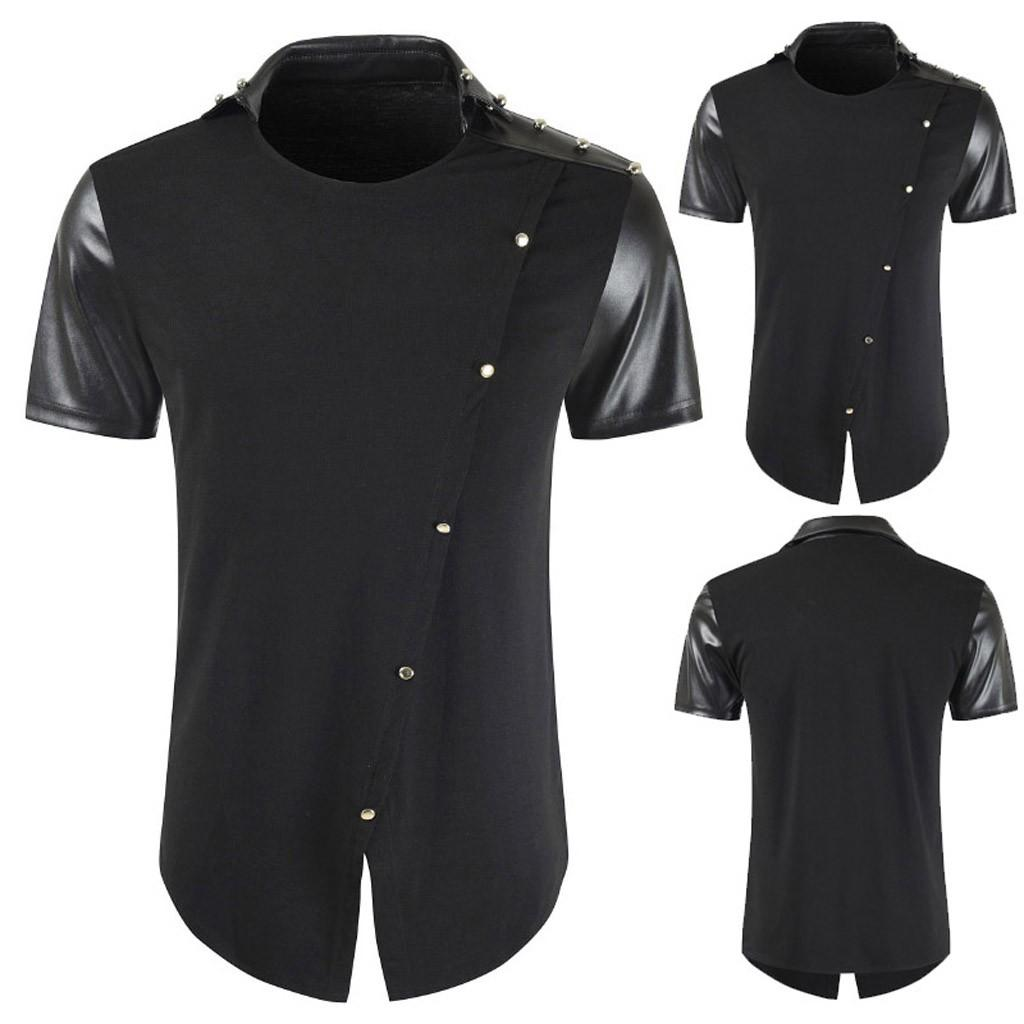Rainbowroom 2019 Men's Round Neck Stitching Color Button Casual Short Sleeve  Shirts Tops  Blouse