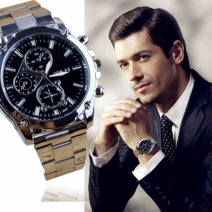 FashionieStore Men's wristwatch Business About Men Stainless Steel Band Machinery Sport Quartz Watch