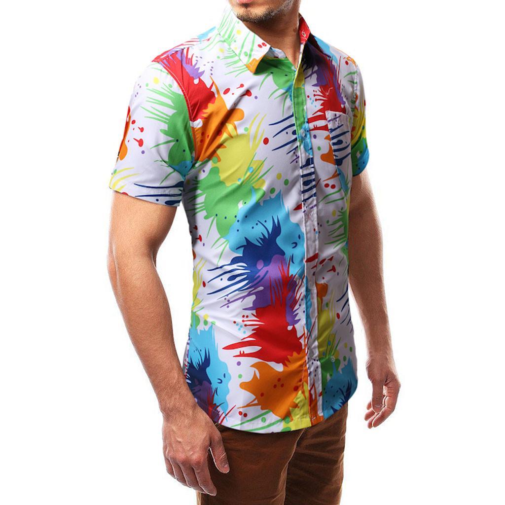 Personality Men's Casual Slim Short Sleeve Printed Shirt Top Blouse