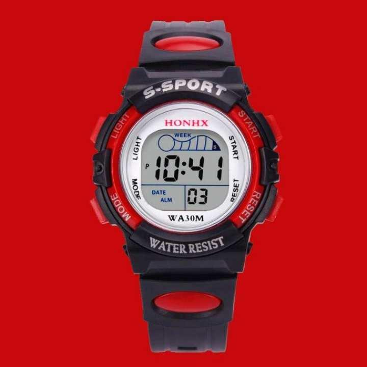 FashionieStore Men's wristwatch Waterproof Children Boys Digital LED Sports Watch Kids Alarm Date Watch Gift BK