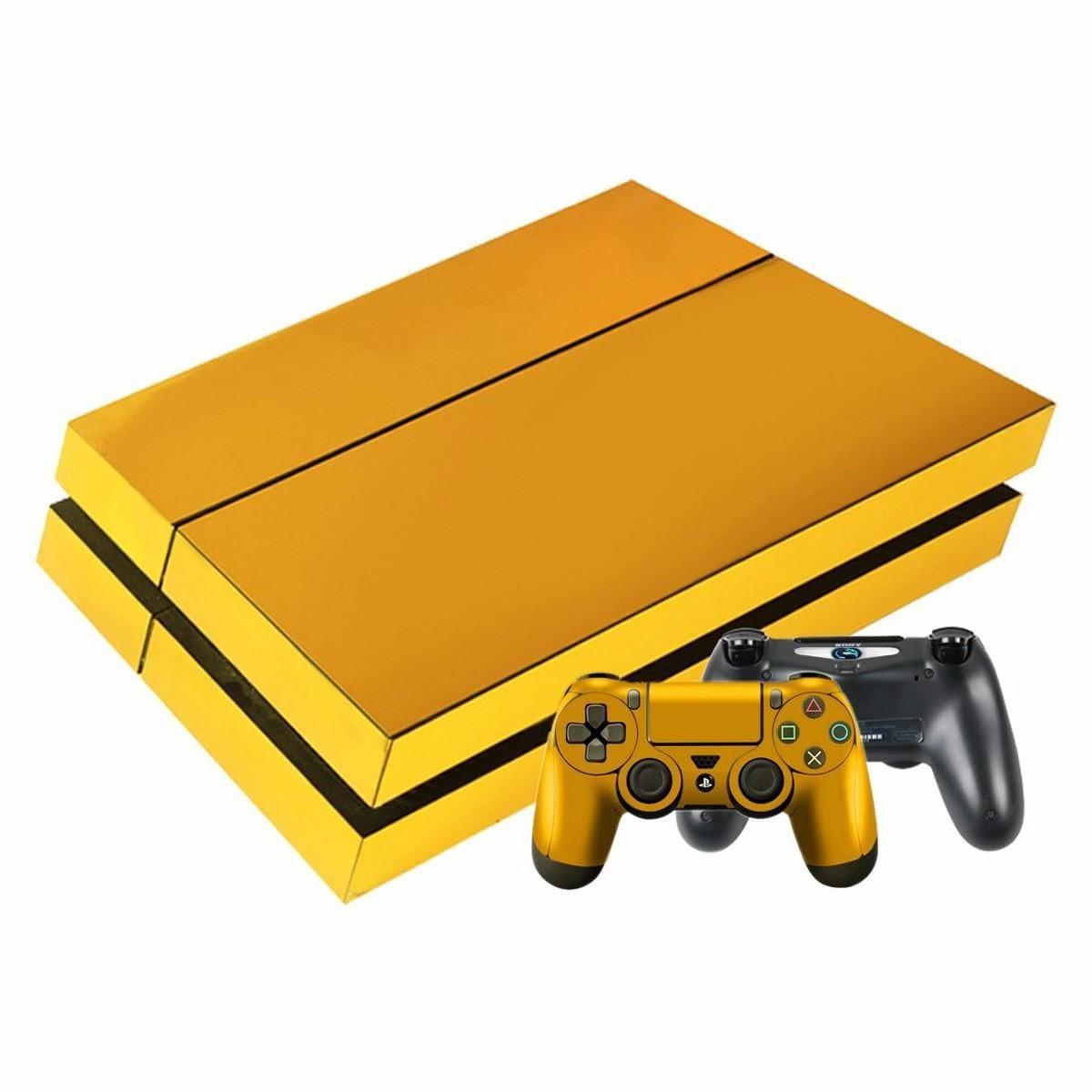 Gold Plating PS4 Slim Skin Sticker for Console And Controller
