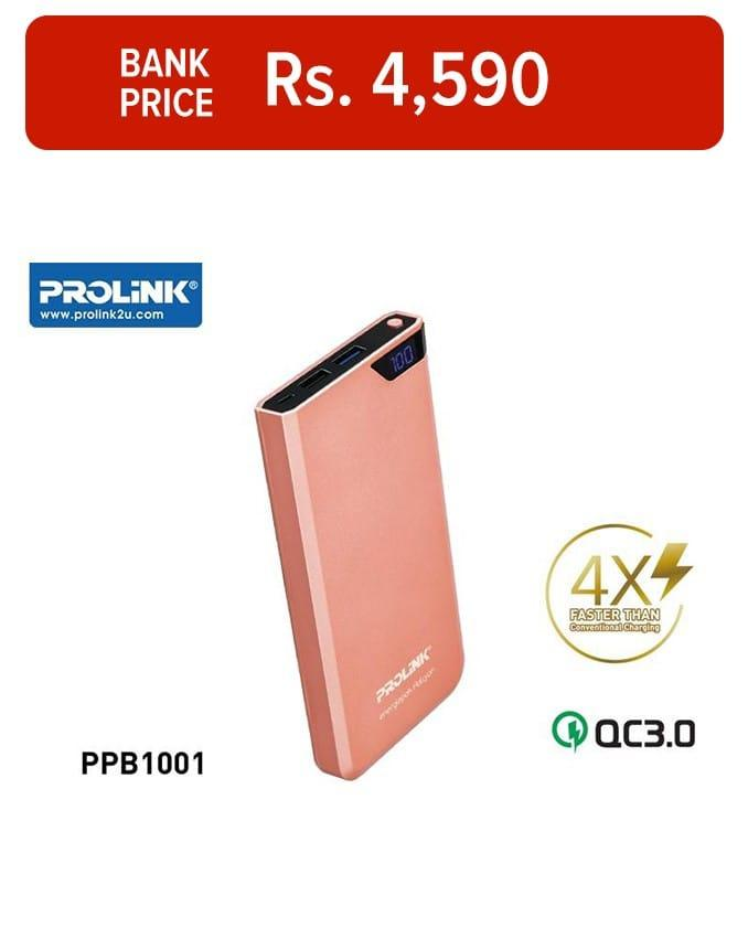 PROLiNK PPB1001 Energiepak Halcyon Power Bank 10000mAh (Dual USB) Type A (Supports Two Way Quick Charge)
