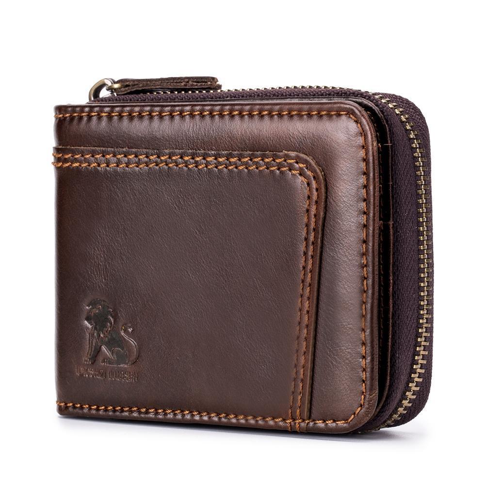 0a0979d2291b RFID Blocking Secure Wallet Vintage Genuine Leather 13 Card Slots Money Bag  For Men