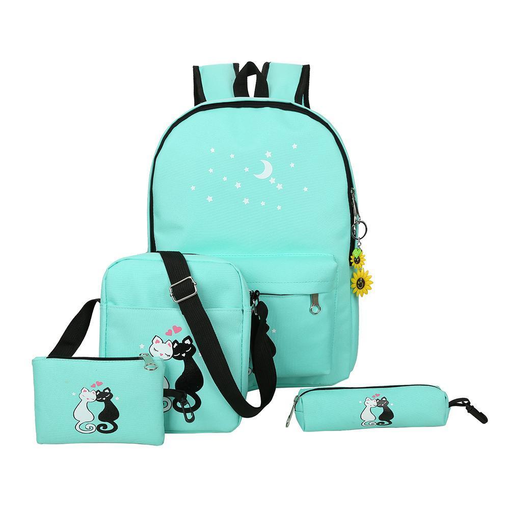 a4e1df8ced uebfashion 4pcs Women Backpacks Cute Cat Printing Canvas Backpacks School  Bags