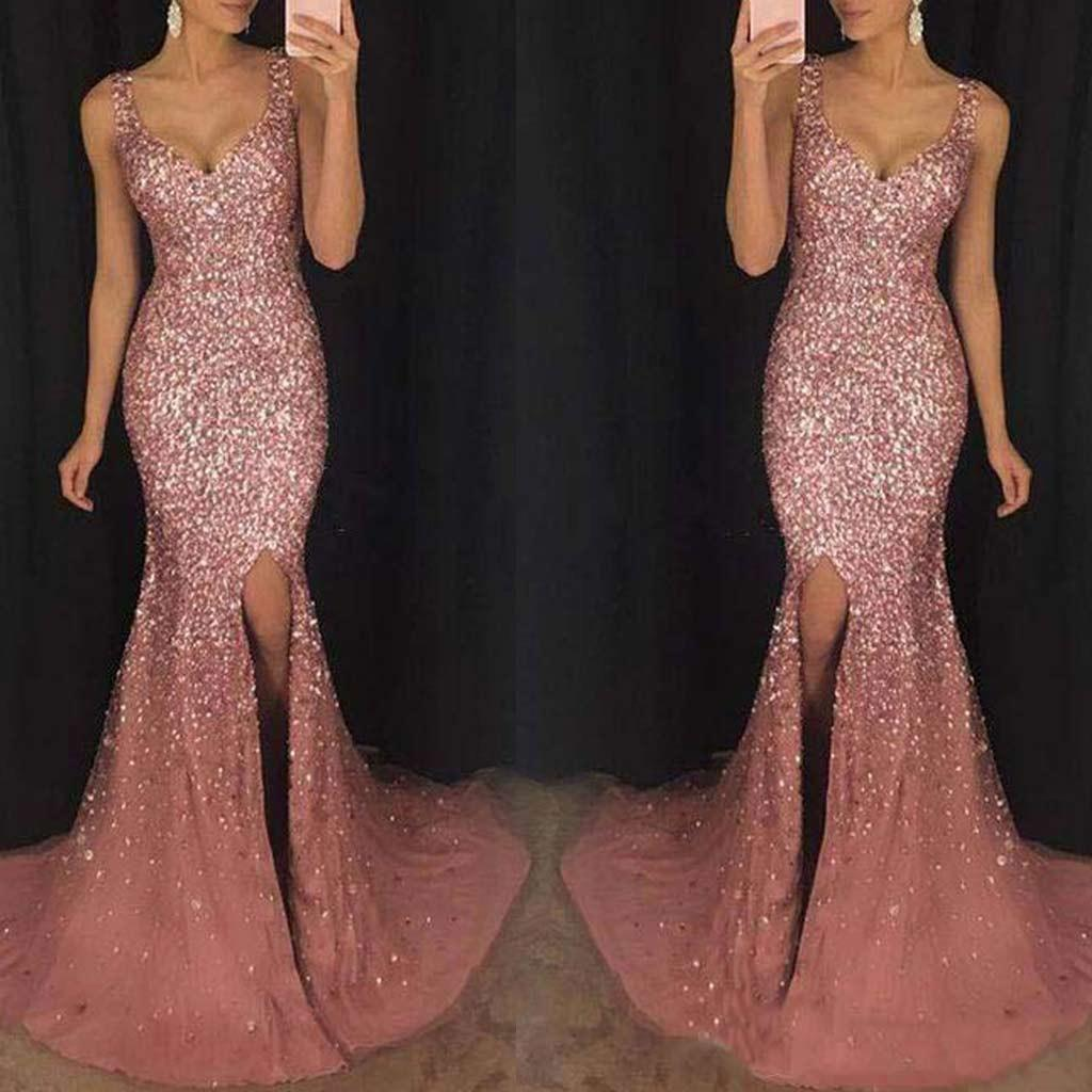 FashionieStore Women Sexy Lace Sequin Solid Camis Back Hollow V-Neck Long  Party Elegant Dress