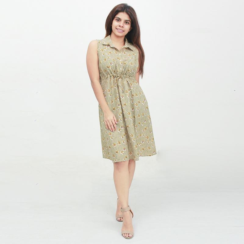 Jezza Green sleeveless floral dress