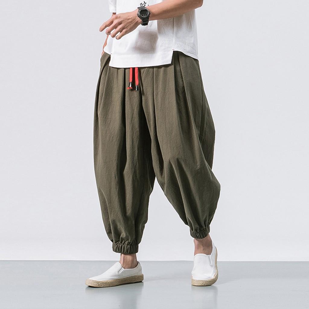 2019 Men's Summer New Style Harren's Baggy Wide-Legged Pants Fashion Comfortable Pant