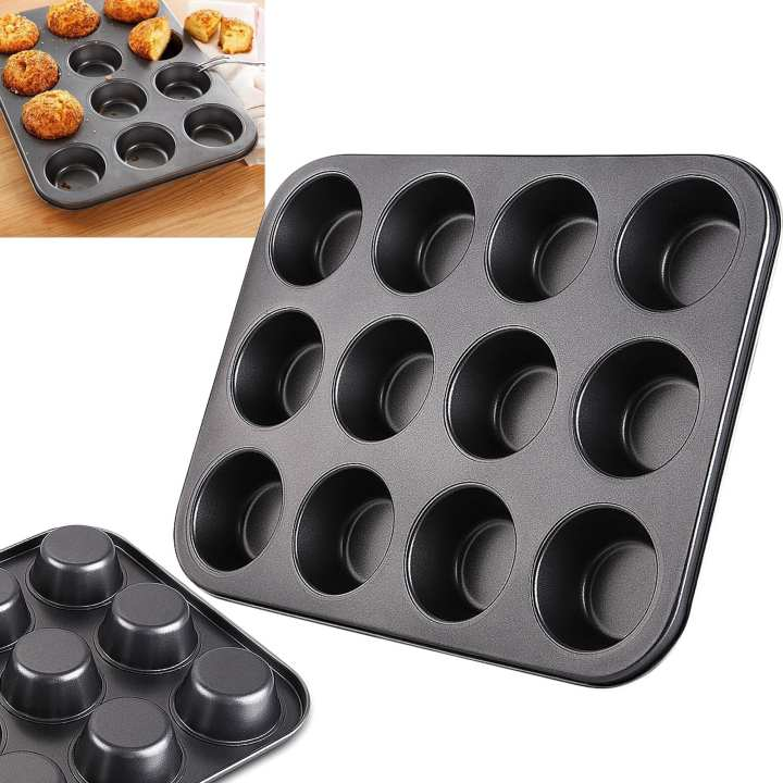 12 Cup Pan Muffin Cupcake Tray Non Stick Molds Baking Trays Bake Tins